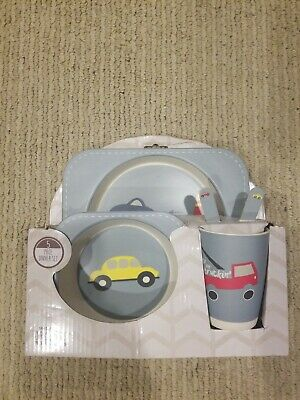 Beriwinkle Kids 5-Piece Meal Set Organic Dinner Set Plates Dishes Cars