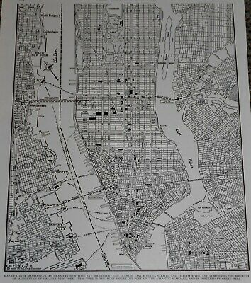 Vintage 1946 Lower Manhattan Atlas Map NY New York City World War WWII Era OLD