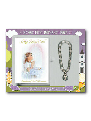 First Communion Gift Set for a Girl - First Missal and Pearl Rosary Bracelet