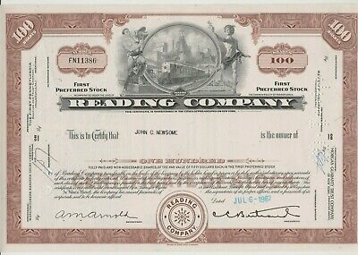 Reading Company Stock Certificate Railroad Brown
