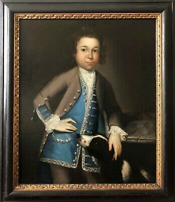 Superb  Oil On Canvas Portrait Painting Of A Boy And His Spaniel Dog Circa 1730