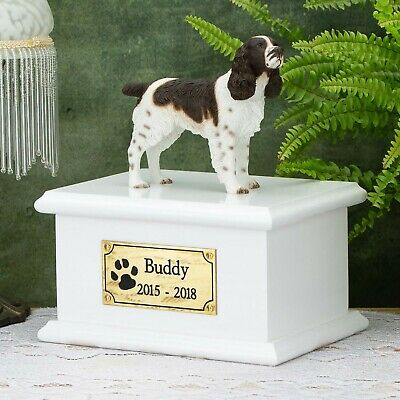 Solid Wood Dog White, Cremation Urn / Casket, Springer Spaniel