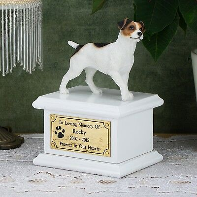 Solid Wood White, Cremation Urn / Casket, Personalized Jack Russell