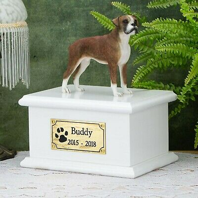 Solid Wood Dog White, Cremation Urn / Casket, Boxer