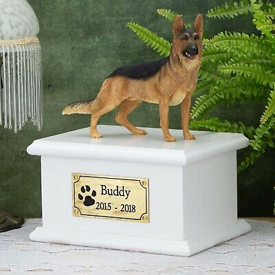 Solid Wood Dog White, Cremation Urn / Casket, German Shepherd