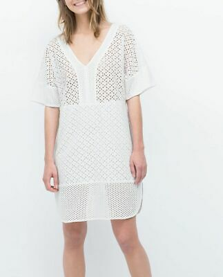 6bfd900288 ZARA White Cotton Eyelet Embroidered Dress Cutout Tunic Kimono Sleeve  0881/106 S