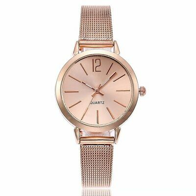 New Fashion Women Stainless Steel Silver Gold Mesh Watch Unique Simple Watches C