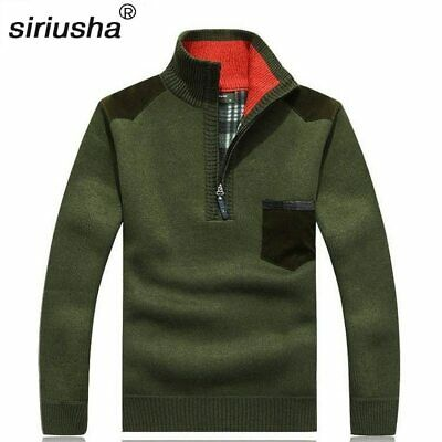 Oversize Men'S Thermal High Collar Zipper Pullover Jumper Sweater Youth Wear To1