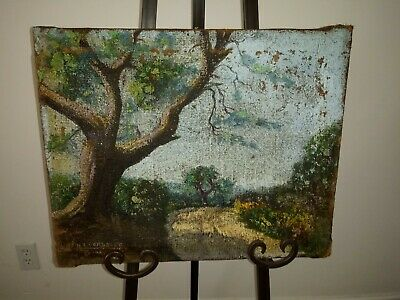 Antique Early 19th Century Oil Painting Landscape on Canvas Artist Signed