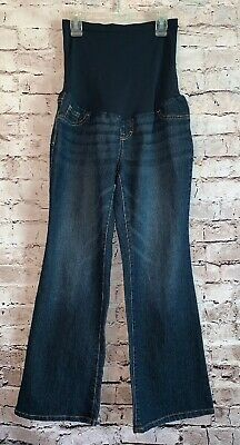 7916976730aa8 Women's INDIGO BLUE Maternity Dark Wash Jeans Petite Medium Stretch Full  Panel