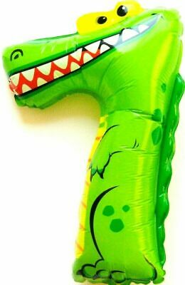 Not Helium Balloon Crocodile Animal Number 7 Foil Decoration Birthday Zoo Party
