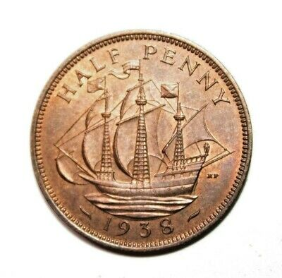 KM# 844 - Half Penny - George VI - Great Britain 1938 (AU)