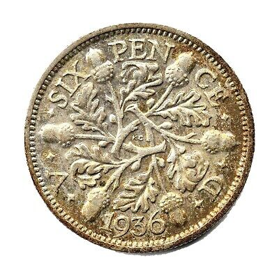 KM# 832 - Sixpence - 6d - Silver (.500) - George V - Great Britain 1936 (F)