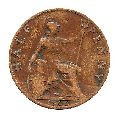 KM# 793 - Half Penny - Freeman 385 (1+B) - Edward VII - Great Britain 1906 (F)