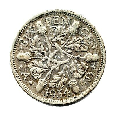 KM# 832 - Sixpence - 6d - Silver (.500) - George V - Great Britain 1934 Damaged