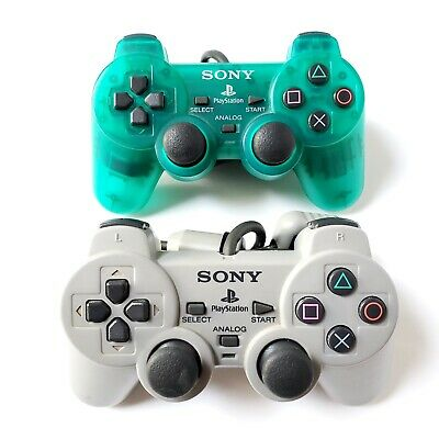 Official Sony PlayStation 1 Controllers Lot Of 2 Emerald Green & Gray OEM Tested