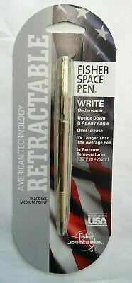 NEW Fisher Retractable Space Pen Gold Finish Medium Black Ink Bullet