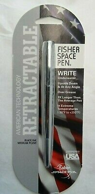 NEW Fisher Retractable Space Pen Silver/ Chrome Finish Medium Black Ink Bullet