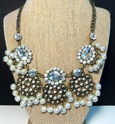Bib Collar Necklace Dangling Pearls Large Floral Rhinestone Pendants Signed ML