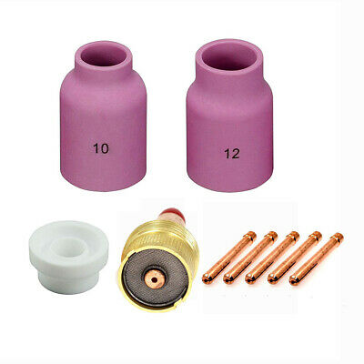 9pcs TIG Welding Torch consumables Gas Lens Collet Body Kit for WP-17 18 26