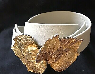 Vintage Dotty Smith Signed Leaf Belt Buckle Gold Tone With Cream  Faux Leather