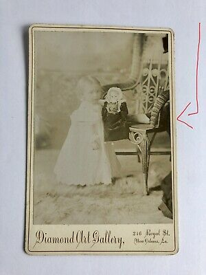 Antique Baby & Doll Cabinet Card New Orleans Unusual Arm in Pic Victorian Dolls