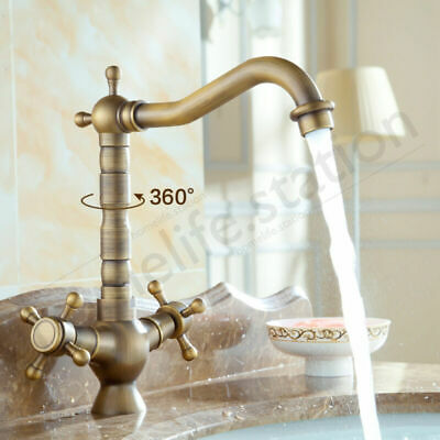 Kitchen Faucet 2 Brass Lever Swivel Sink Bathroom Nozzle Rotate Vintage Tap New