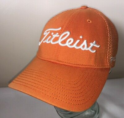TITLEIST Pro V1 FootJoy Orange Stretch Mesh New Era Golf Cap Hat Small / Medium