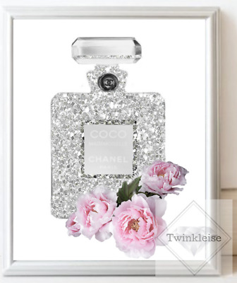 Chanel Mademoiselle Fashion Faux Glitter Perfume Bottle Art Picture - A4 Print