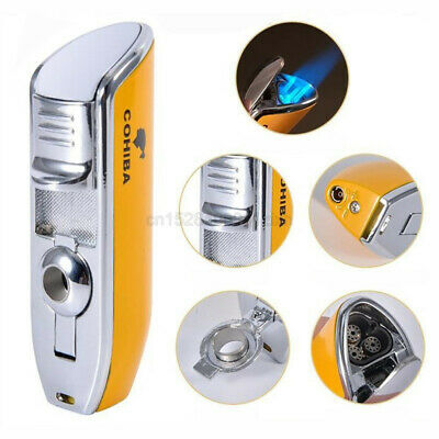 COHIBA Metal Yellow 3 Jet Flame Cigar Lighter Windproof W/Cigar Punch Gift Box