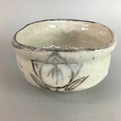 Japanese Tea Ceremony Bowl Chawan Vtg Shino ware Pottery White GTB508