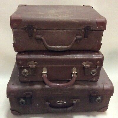 3 Small Vintage Suitcases