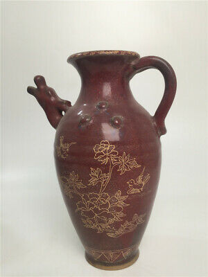 "12"" Antique Porcelain song jun kiln Purple red glaze gilt lotus Beauty jar vase"