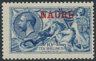 NAURU - 1916 10/- blue Great Britain Sea Horses, treble NAURU o/p, MH – SG # 23a