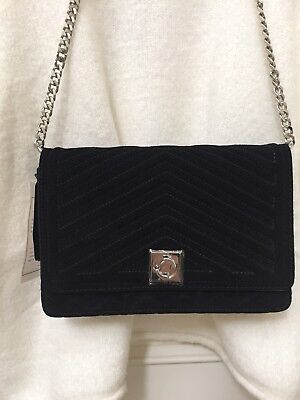 12cfeed628 Nwt Zara Black Split Suede Quilted Oversized Crossbody Chain Bag