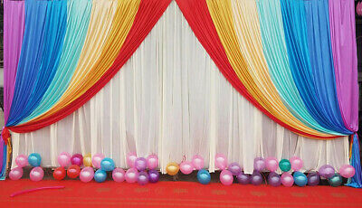 20X10FT Wedding Stage Decor Cute Rainbow Background Swag Fabric Curtain Backdrop