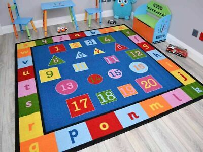 Small Large Boys Girls Kids Alphabet Numbers Childrens School Bright Rugs Mats