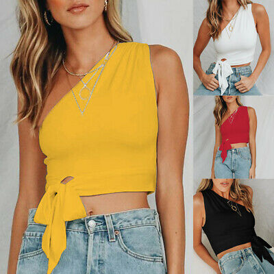 Womens Casual One Shoulder Crop Tops Sleeveless Slim Vest Tank Beach Blouse Tee