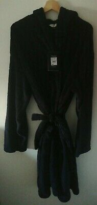 Jasper conran Robe Dressing Gown Textured Grid Hooded Gown Navy XL RRP£60 #165