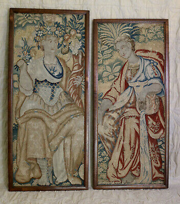 PAIR 17th Century French Aubusson Verdure Gobelin Tapestry Panels