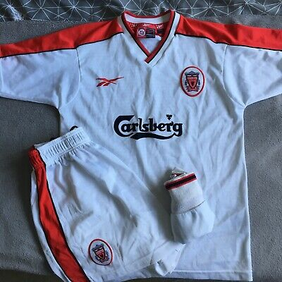 Liverpool FC Retro 1998/99 White Away Full Kit (marks on shorts) Youths