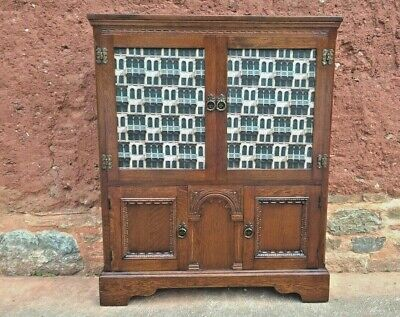 Old Charm Oak Bookcase / Vintage Carved Oak Cabinet - ( Delivery Quote 👍 )