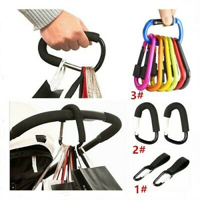 Black Universal Large Buggy Clips Shopping Bag Hooks Carabiners