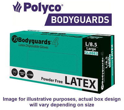 100 x Bodyguards/® 4 Latex Powder free Disposable Gloves Size GL888 Large