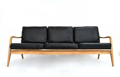 Vintage Danish Black Leather & Beech Lounge 3 Seater Sofa Midcentury 1960s