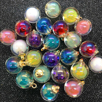 10PCS 16MM Mini Glass Bottles with Beads Pendant Ornaments Making Jewelry N D1O6