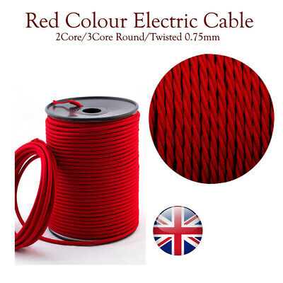 2/3 Cores Twisted/Round Silk Braided Vintage Fabric Electrical Colored Lighting