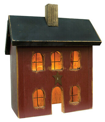 Primitive BURGUNDY LIGHTED HOUSE Saltbox Country Farmhouse Rustic Wood