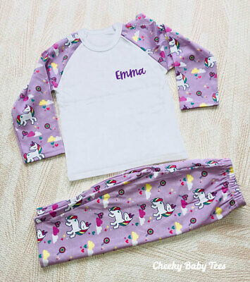 Personalised Unicorn Girls' Pyjamas, Sizes 6-12mths to 9-10 years, Any Name PJs