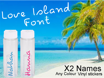 X2 Love Island Text Personalised Name Water Bottle Sticker Custom Decal Transfer